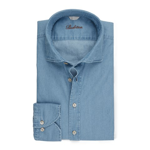 Washed Fitted Body Shirt In Denim