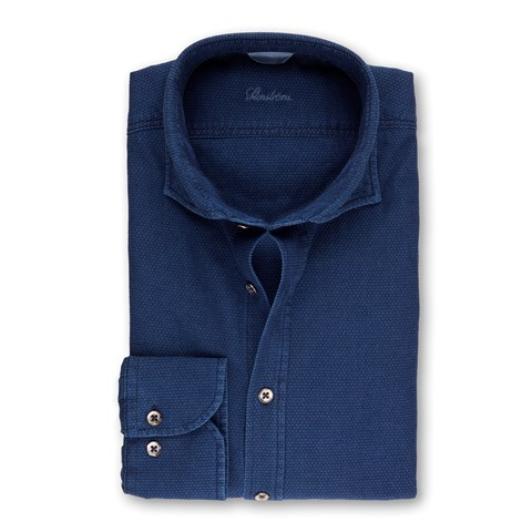 Denim Blue Casual Fitted Body Shirt