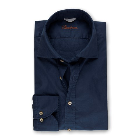 Blue Casual Fitted Body Shirt