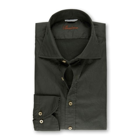 Forest Green Casual Fitted Body Shirt