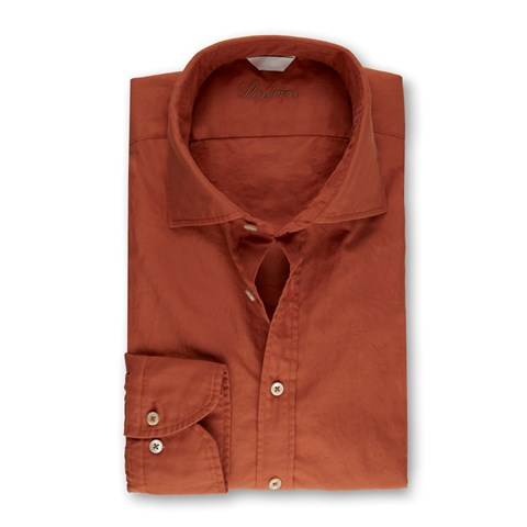Orange Casual Fitted Body Shirt
