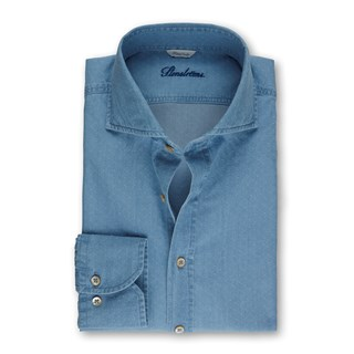 Light Blue Denim Fitted Body Shirt