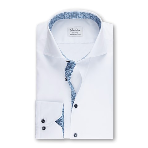 White Fitted Body Shirt With Contrast