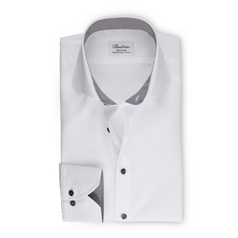 White Fitted Body Shirt With Details