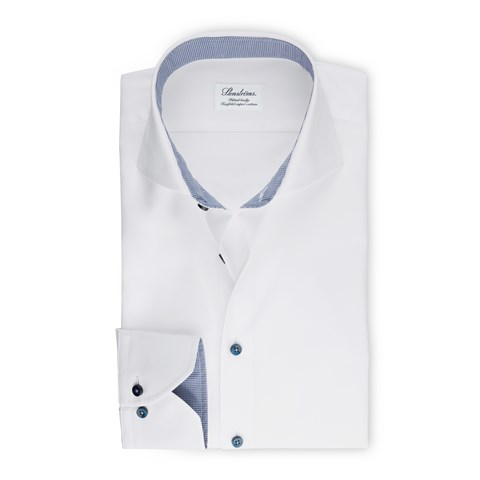 White Fitted Body Shirt With Contrast Details