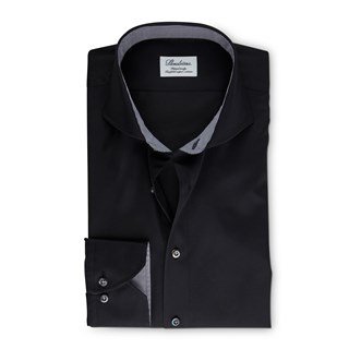 Black Fitted Body Shirt With Details