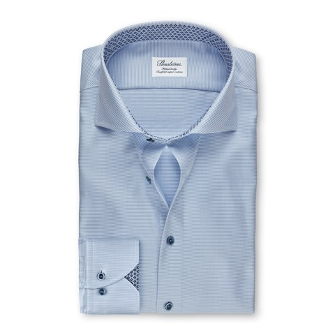 Light Blue Fitted Body Shirt With Geometric Contrast