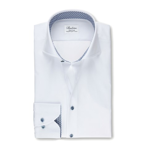 White Fitted Body Shirt With Geometric Contrast