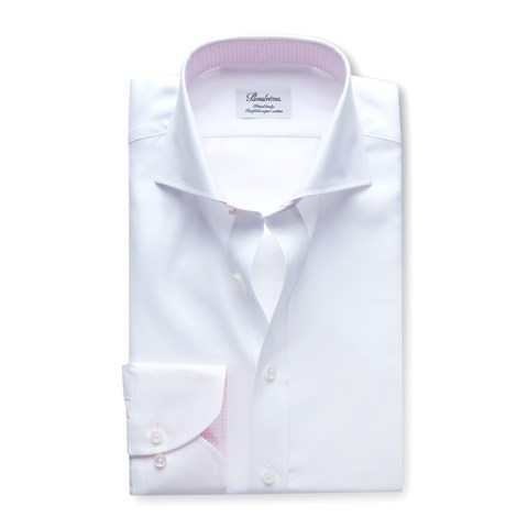 White Fitted Body Shirt Pink Contrast