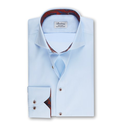 Light Blue Fitted Body Shirt w. Contrast
