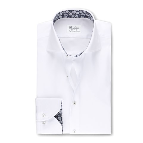 White Fitted Body Shirt Floral Contrast