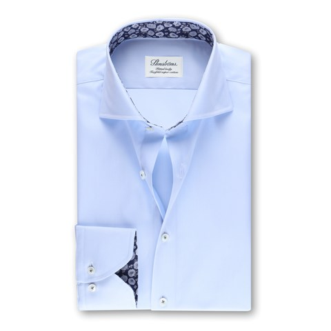 Light Blue Fitted Body Shirt Floral Contrast