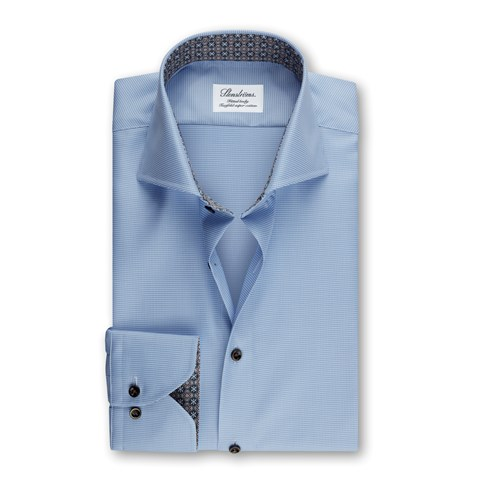 Fitted Body Shirt Houndstooth Medallion Contrast