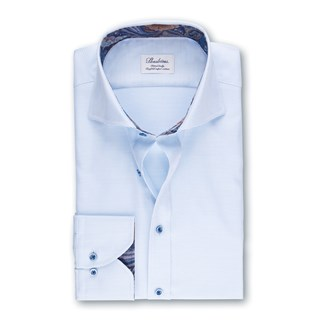 Light Blue Fitted Body Shirt With Cotnrast