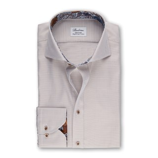 Beige Fitted Body Shirt With Cotnrast
