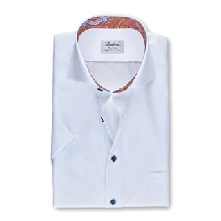 White Fitted Body Shirt With Contrast, Short Sleeves