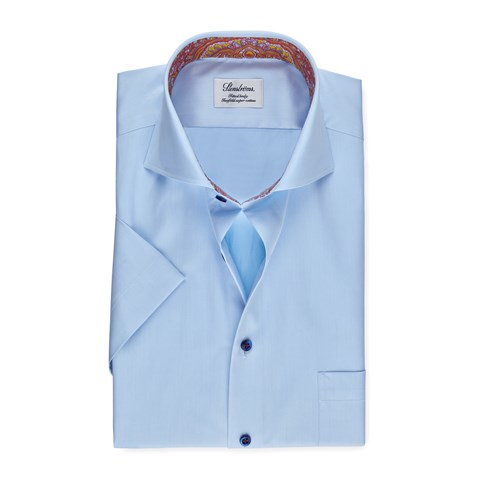 Light Blue Fitted Body Shirt With Contrast, Short Sleeves