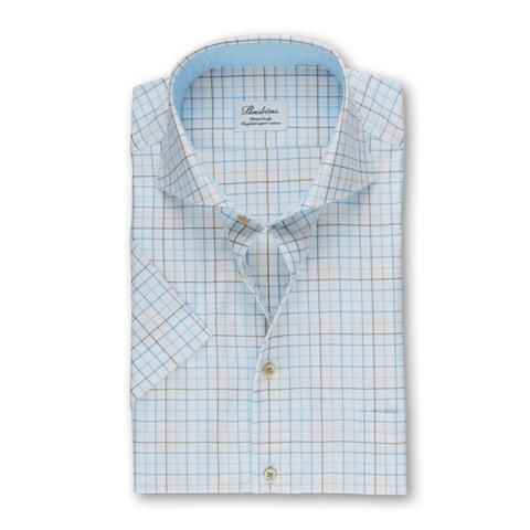 Checkered Fitted Body Shirt, Short Sleeves