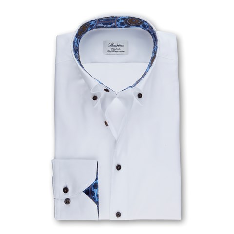 White Fitted Body Shirt In Oxford