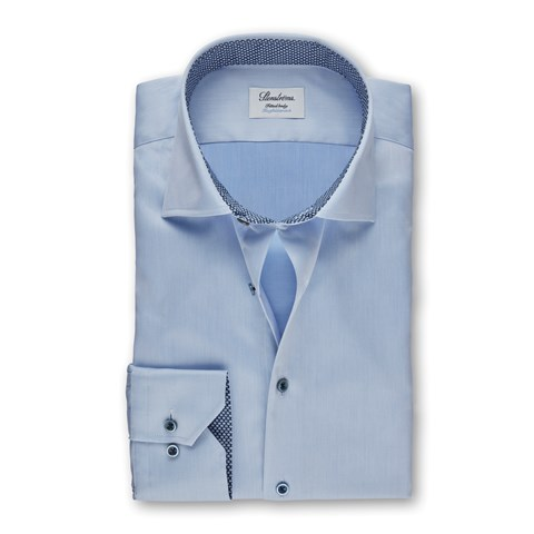 Light Blue Fitted Body Shirt With Blue Contrast, Stretch