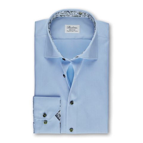 Light Blue Fitted Body Shirt With Floral Contrast