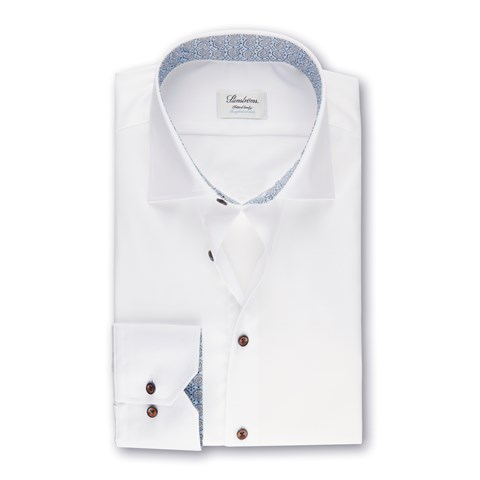White Fitted Body Shirt With Medallion Contrast