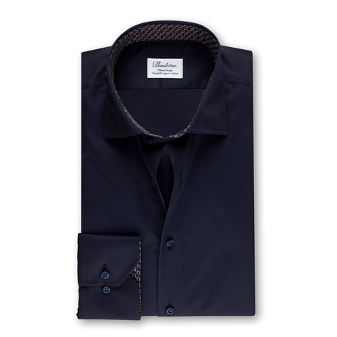 Dark Navy Fitted Body Shirt With Contrast