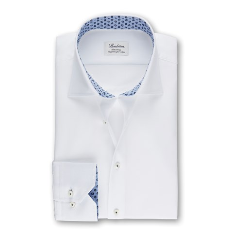 White Textured Fitted Body Shirt With Contrast