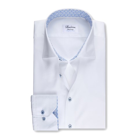 Fitted Body Shirt White With Contrast, XL-sleeves