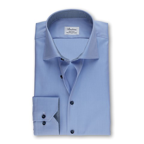 Blue Fitted Body Shirt With Contrast