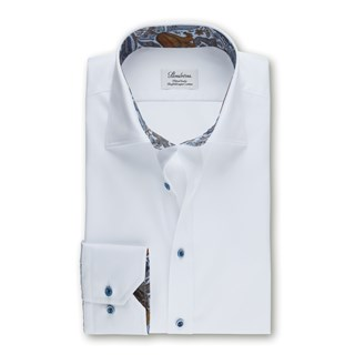 White Fitted Body Shirt With Paisley Details