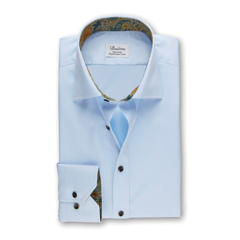 Light Blue Fitted Body Shirt With Paisley Details