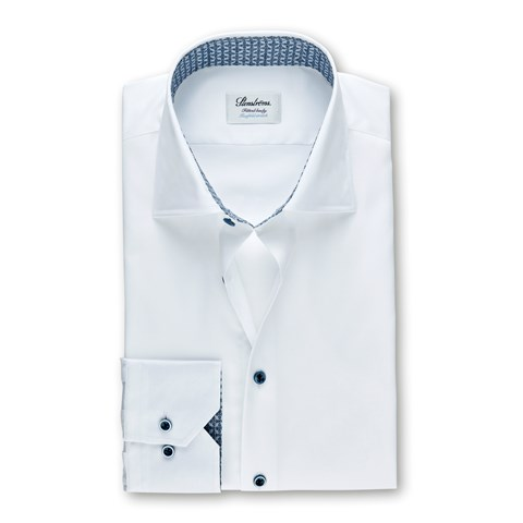 White Fitted Body Shirt With Contrast Details, Stretch