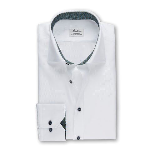 White Fitted Body Shirt With Green Contrast Details