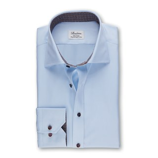 Light Blue Fitted Body Shirt With Contrast Details