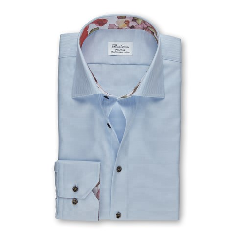 Light Blue Fitted Body Shirt With Contrast