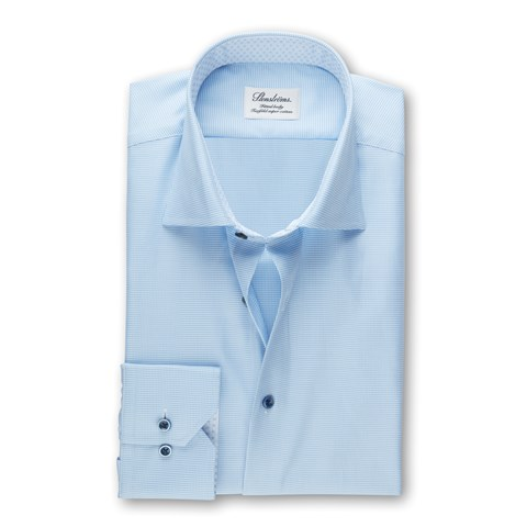 Light Blue Hounds Tooth Fitted Body Shirt