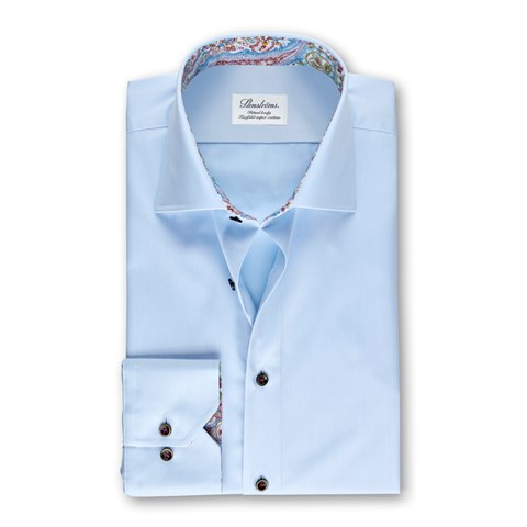 Light Blue Fitted Body Shirt With Paisley Contrast
