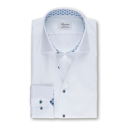 White Fitted Body Shirt With Floral Contrast
