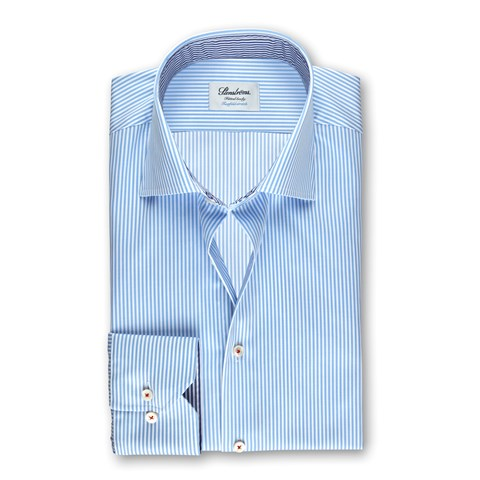 Light Blue Striped Fitted Body Shirt With Contrast