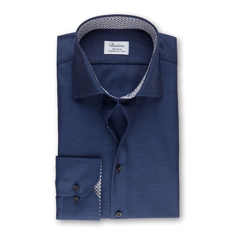 Navy Micro Striped Fitted Body Shirt With Contrast