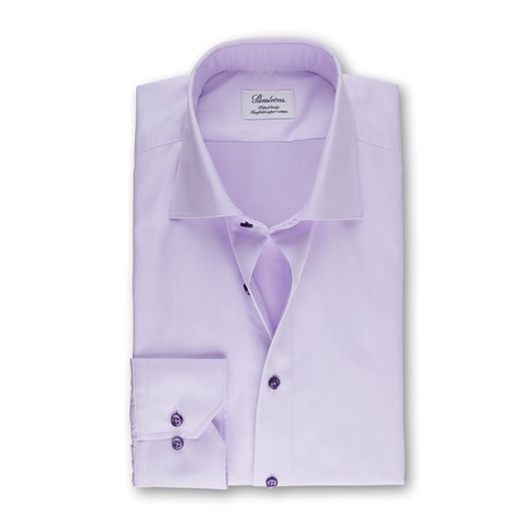 Light Purple Fitted Body Shirt With Contrast