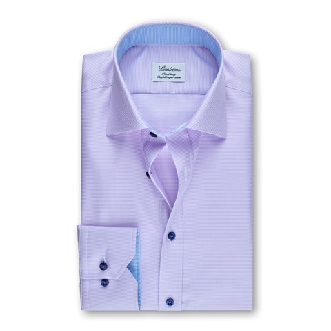 Purple Micro Patterned Fitted Body Shirt