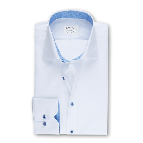 White Fitted Body Shirt W Blue Details