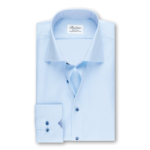 Light Blue Fitted Body Shirt W Blue Details