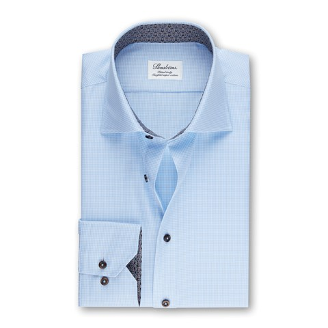 Blue Fitted Body Shirt w. Contrast