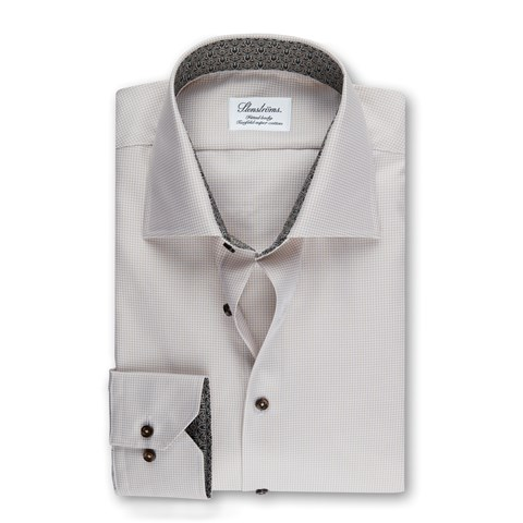 Beige Fitted Body Shirt w. Contrast