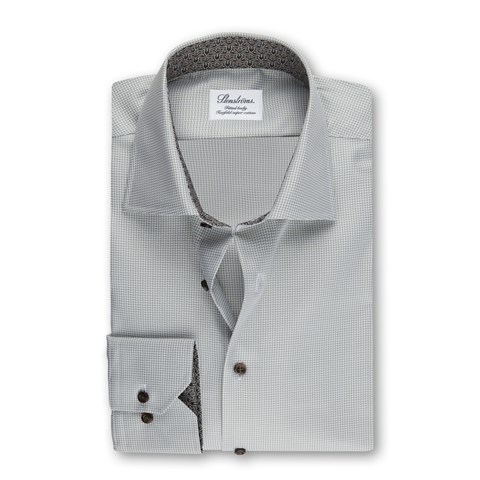 Green Fitted Body Shirt w. Contrast