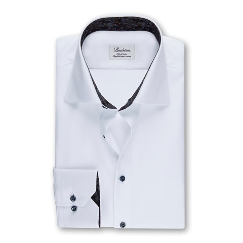 White Fitted Body Shirt W Contrast