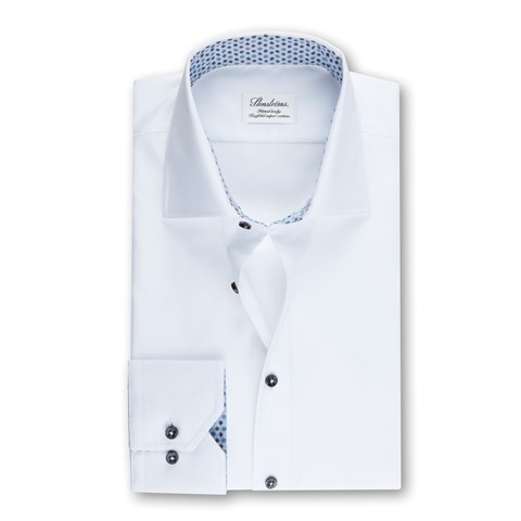 White Fitted Body Shirt w. Contrast